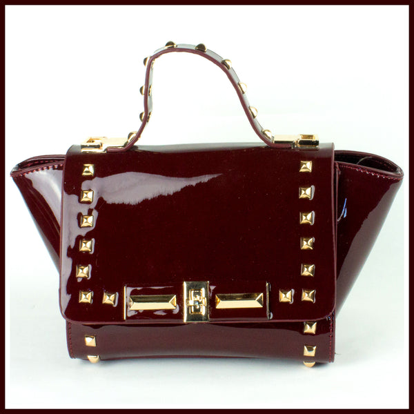 Small Maroon Studded Handbag