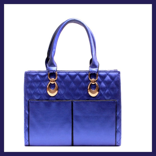 Royal Blue Quilted Tote