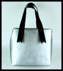 Silver Tote Bag with Black Handle