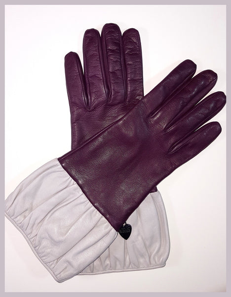 Purple/Beige Moschino Gloves Size 7