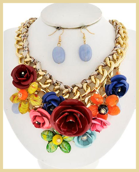 Colorful Metal Flower Necklace