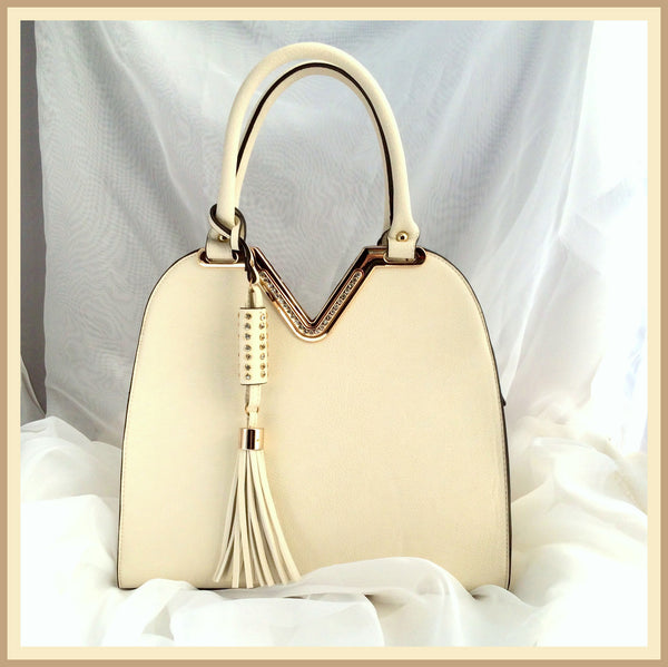 White Handbag with Rhinestones/Tassel