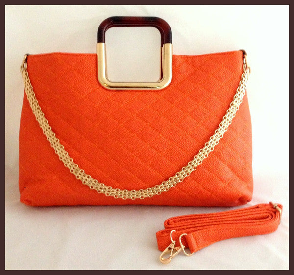 Quilted Orange Handbag