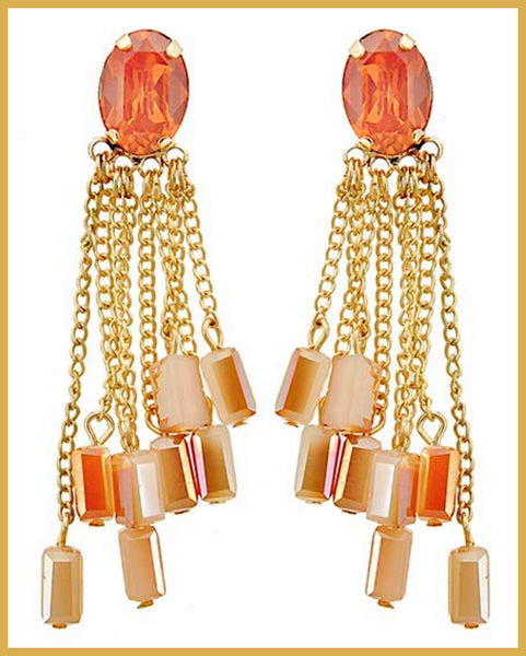 Peach Opal & Brown Glass Chandelier Earrings