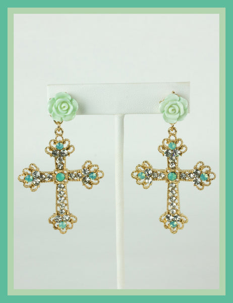 Pale Green Cross Earrings