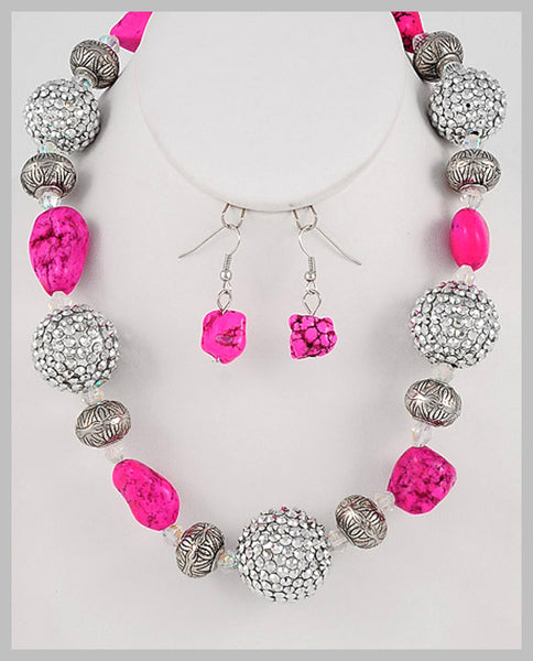 Pavé Silver Ball & Pink Stone Necklace