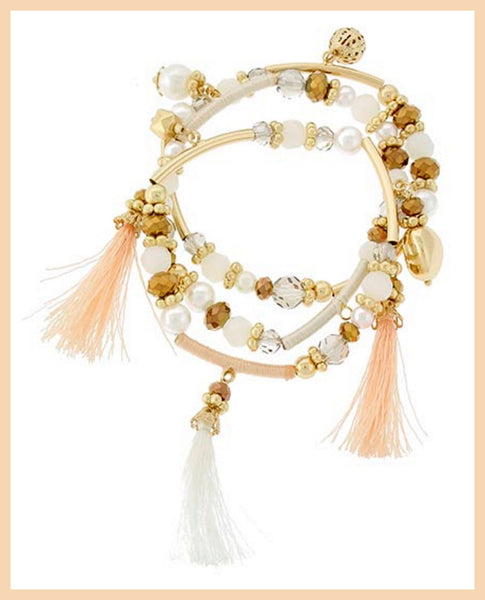 Gold/Peach/Ivory Stackable Tassel Charm Bracelet