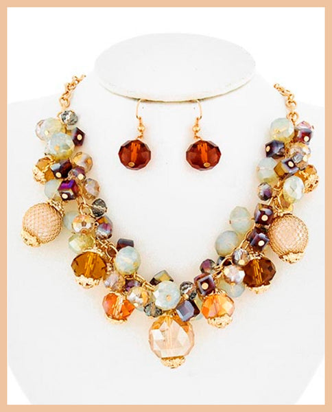 Gold & Blue Stone Necklace