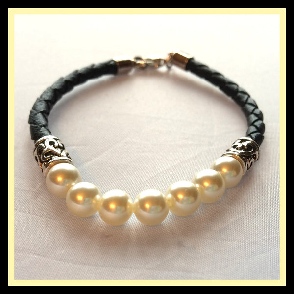 Pearl & Braided Leather Bracelet