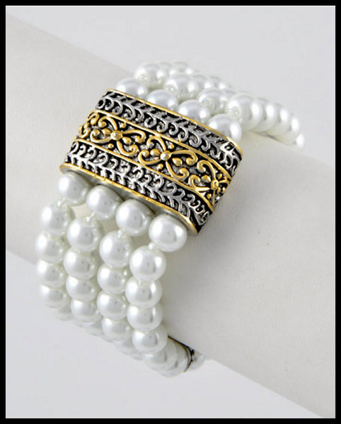 Four Row Pearl Bracelet