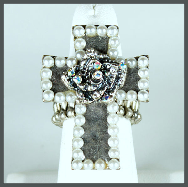 Silver Tone Pearl Cross Ring