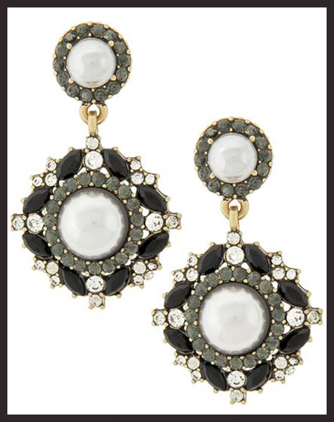 Burnished Gold/Black Rhinestone/Grey Pearl Earrings