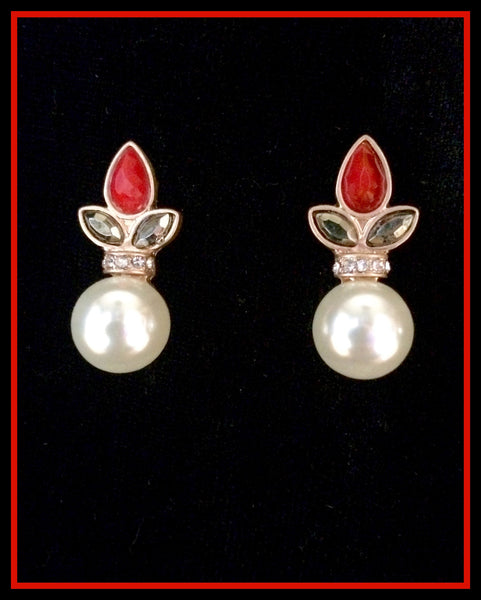Red/Hematite & Pearl Button Earrings