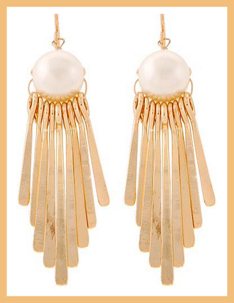 Gold Tone Pearl Chandelier Earrings