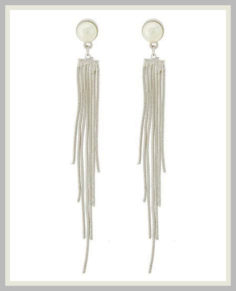 Silver & Pearl Tassel Earrings