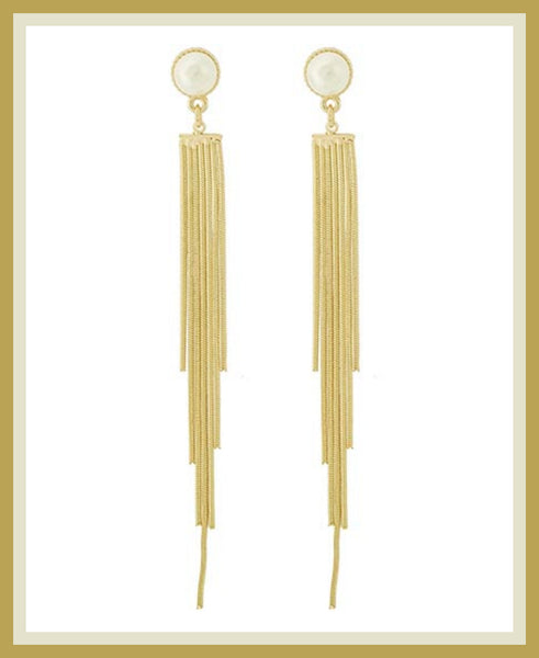 Gold & Pearl Tassel Earrings