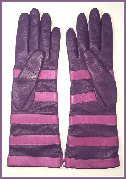 Portolano Purple Stripe Leather Gloves Size 7