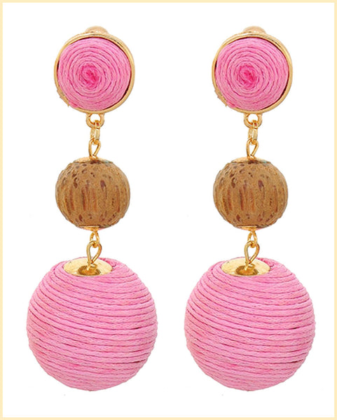 Pink Thread Ball Dangle Earrings