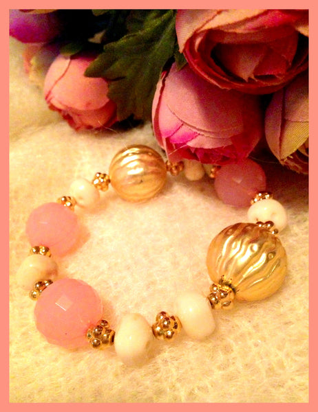 Pink, White & Gold Beaded Bracelet