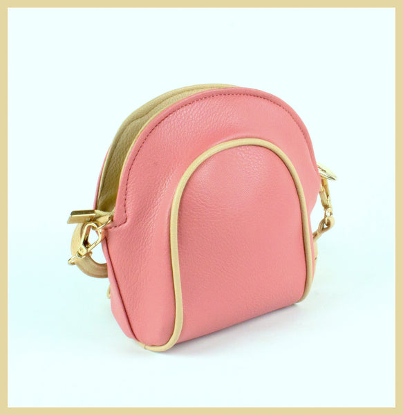 Small Pink Bag with Beige Trim