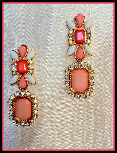 Peach & White Dangle Earrings