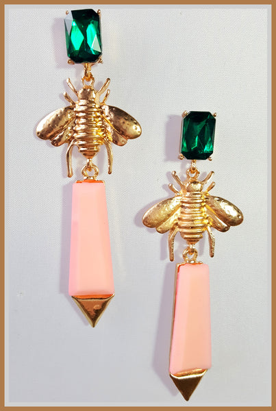 Green & Pink Bug Earrings