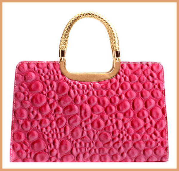 Pink Quilted Patent Handbag
