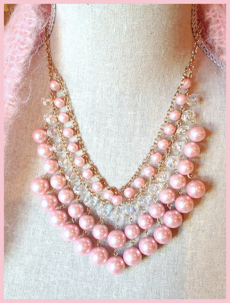 Pink Pearl & Crystal Necklace