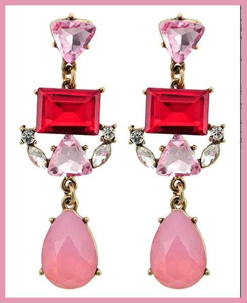 Pink & Red Glass/Rhinestone Dangle Earrings