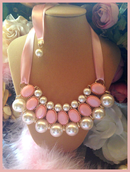 Pink & Pearl Tie Necklace
