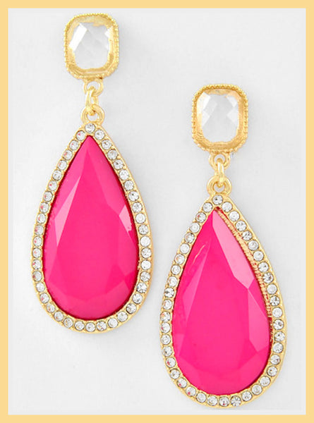 Hot Pink Tear Drop Earrings