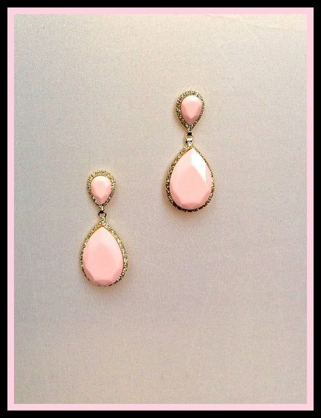 Pink Acrylic Drop Earrings