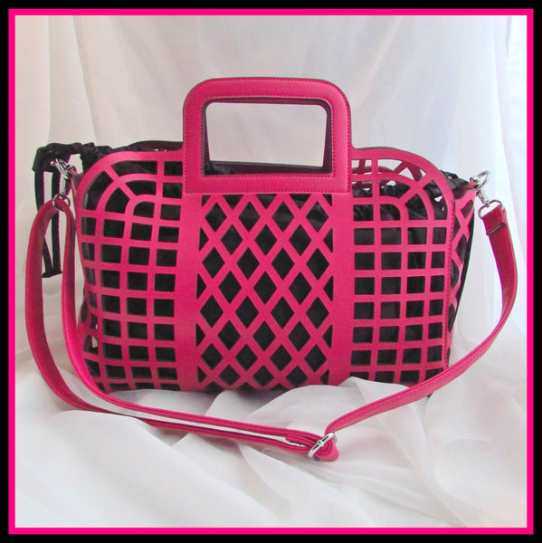 Fuschia/Black Laser-Cut Handbag