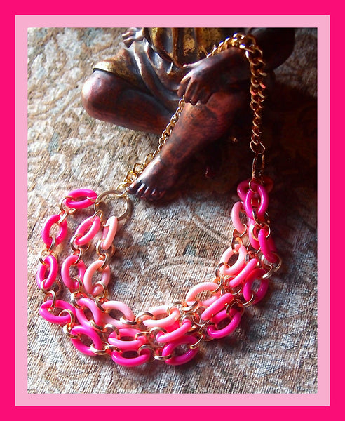 Triple Strand Pink Necklace