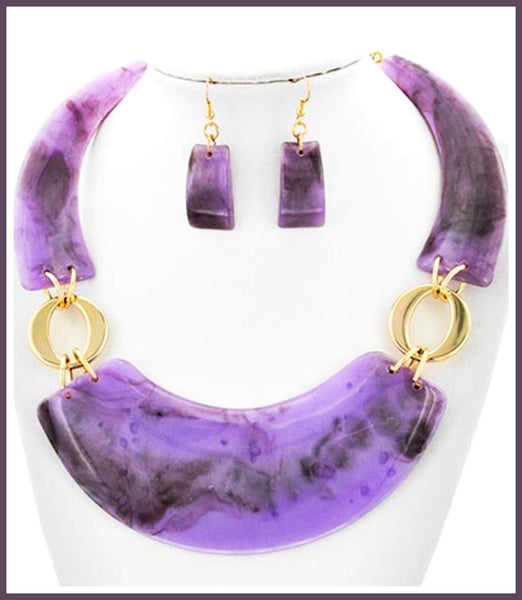 Purple/Black Acrylic Marble Necklace & Earring Set