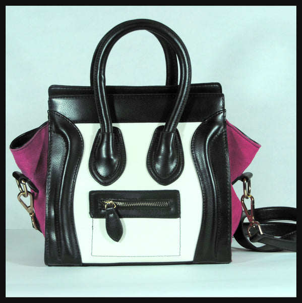 Black, White & Magenta 'Smiley' Handbag