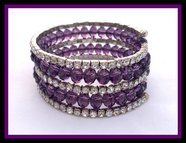 Purple Stone & Crystal Bracelet