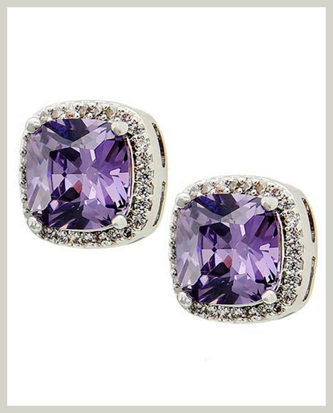 Lavender Cubic Zirconia Earrings