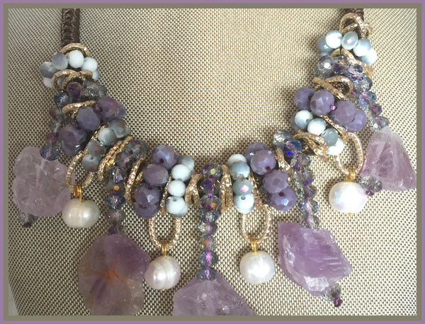 Purple Amethyst Semi-Precious Stone Necklace