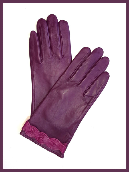 Genuine Plum Leather Gloves w/ Wine Braid