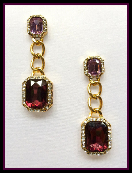 Purple Chain-Link Earrings