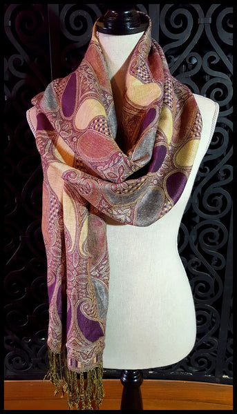 Beige/Grey/Purple Pashmina Scarf