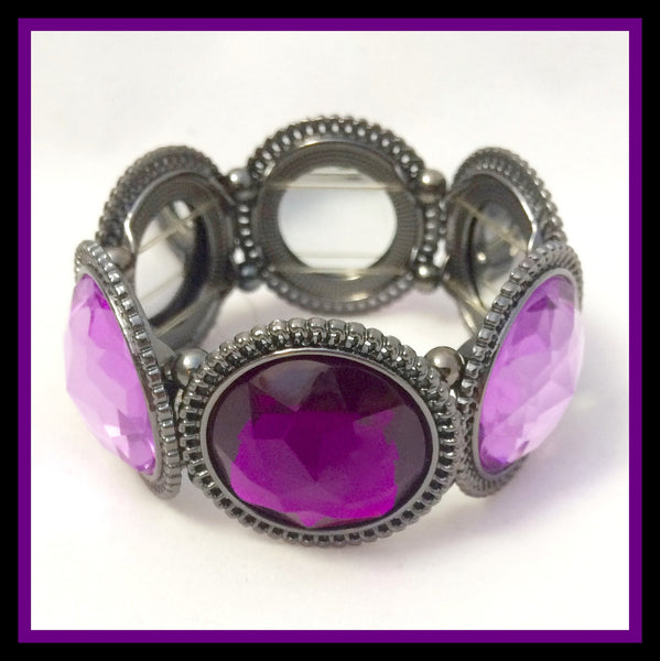 Silver and Purple Bracelet
