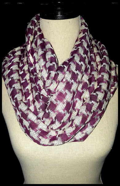 Purple and Silver Infinity Scarf