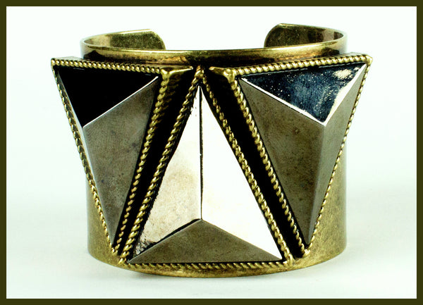 Antique Gold/Silver Pyramid Bracelet