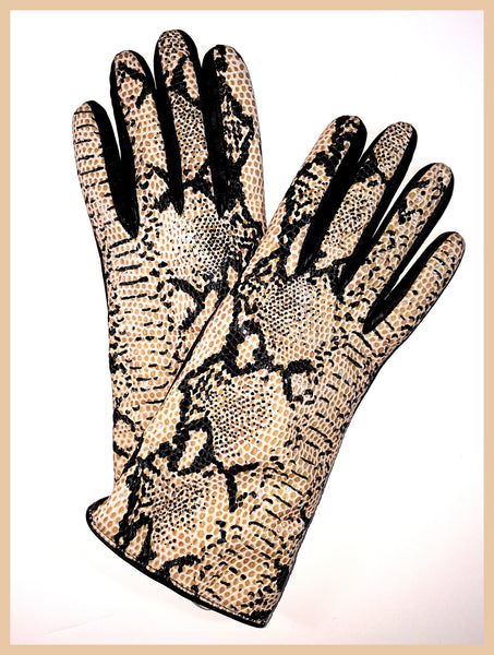 Portolano Python Print Leather Gloves Size 7