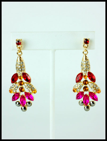 Red, Pink, Amber & Hematite Pavè Earrings