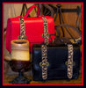 Small Red Satchel with Leopard Trim