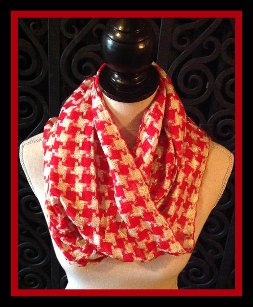 Red & Silver Infinity Scarf