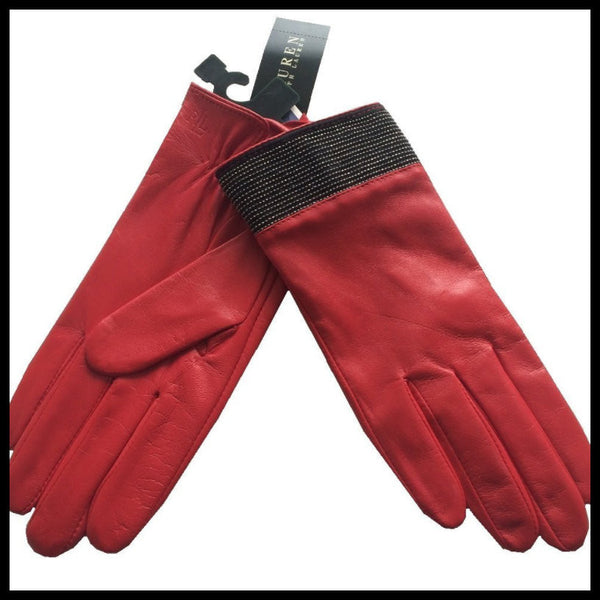 Ralph Lauren Red Leather/Black Glitter Gloves Size Small